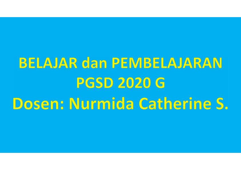 BELAJAR & PEMBELAJARAN-PGSD 2020G